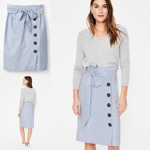 Boden Linen Striped Leonora Button Skirt 16
